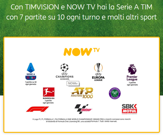 NOW TV Ticket Sport: cosa si vede