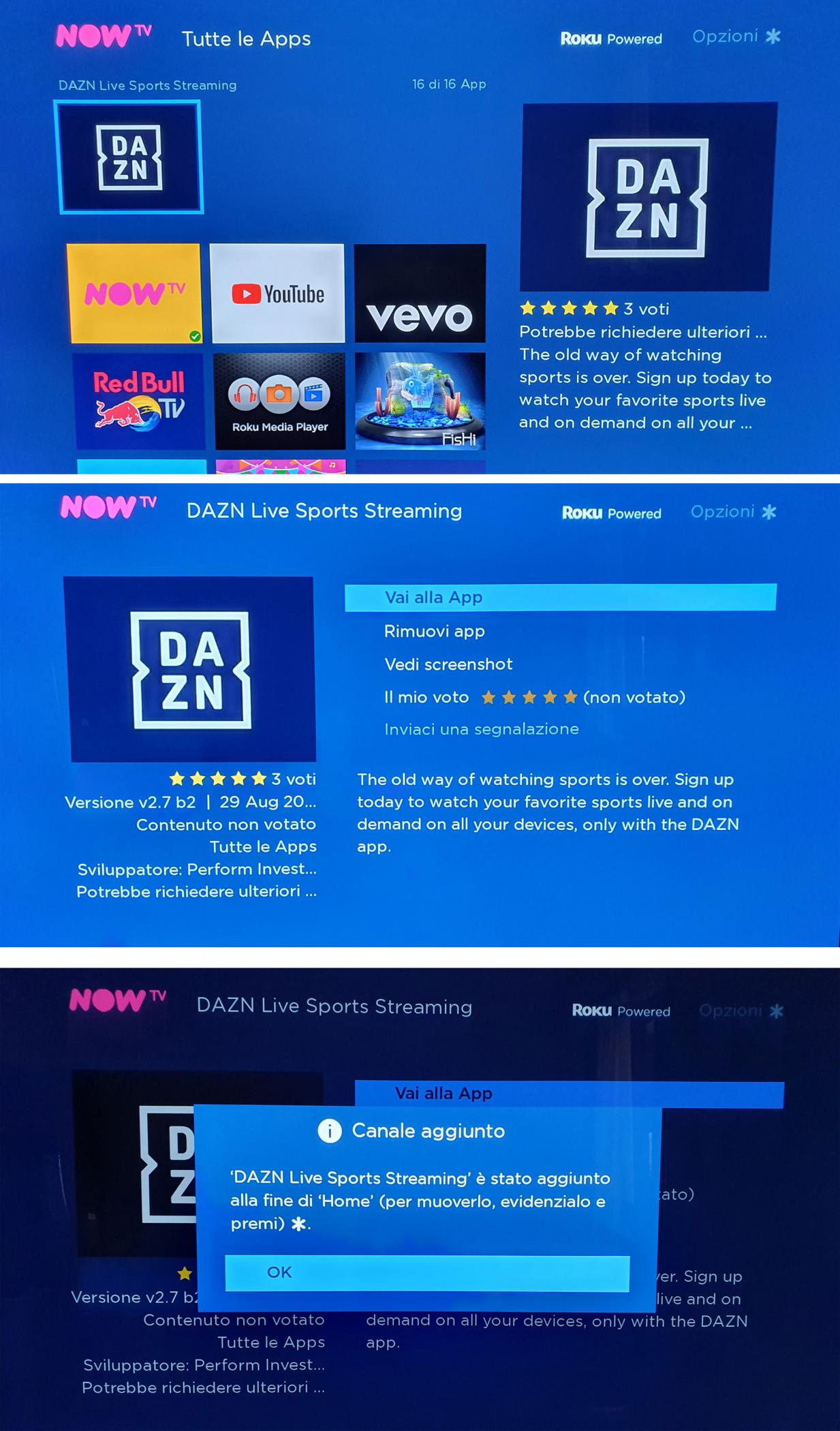 SCARICARE APP DAZN SU NOW TV
